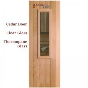 ADA Width Cedar Sauna Room Door - Small Window
