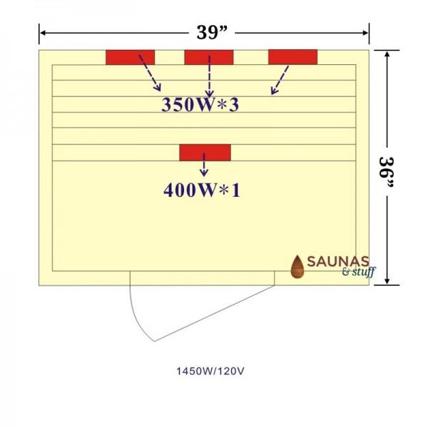 1 Person Ceramic Tube Infrared Sauna Heater Pattern