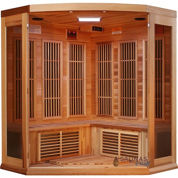 3 Person Corner Red Cedar Infrared Sauna - Interior