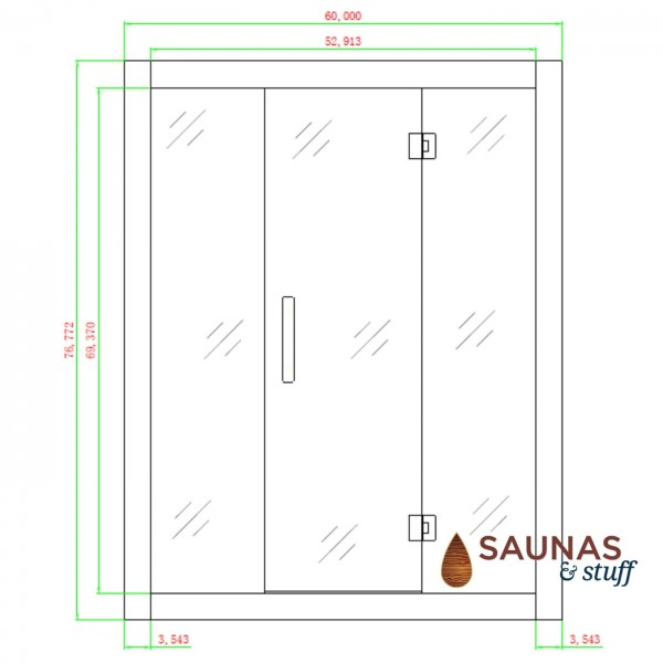 3 Person (AG) Infrared Sauna, Ultra Low EMF - Dimensions