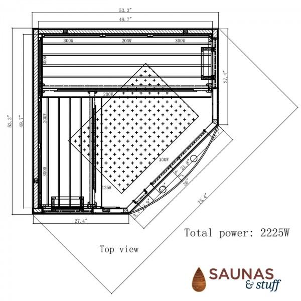 3 Person Corner Ultra-Low-EMF Carbon Fiber - Dimensions