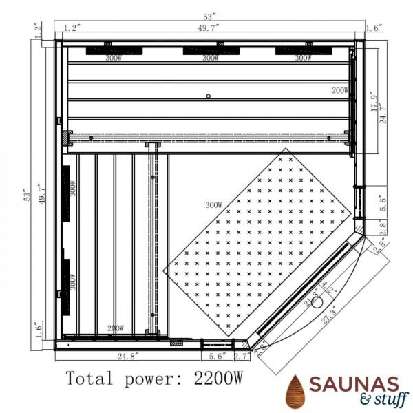 3 Person Corner, Full Spectrum Ultra-Low-EMF Carbon Fiber Infrared Sauna