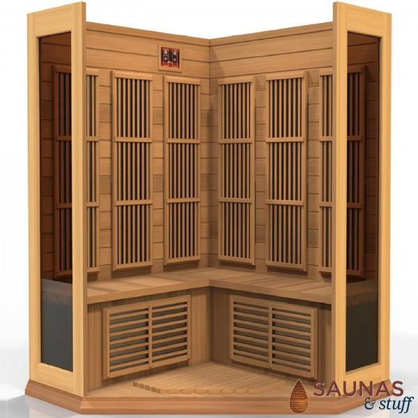 3 Person Cedar (MC) Corner Ultra-Low-EMF Carbon Fiber Infrared Sauna