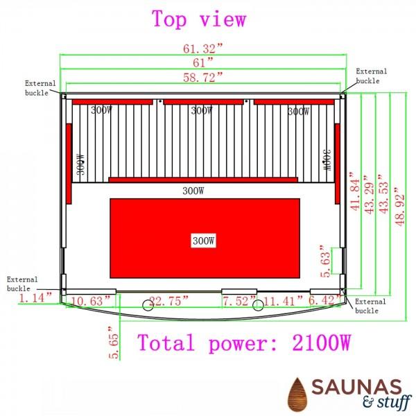 3 Person (MH) Ultra-Low-EMF Carbon Fiber Infrared Sauna Dimensions