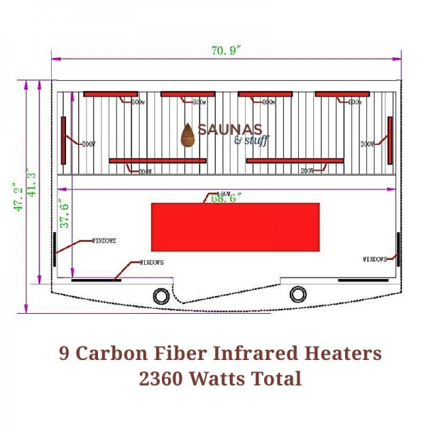 4 Person Carbon Fiber Infrared Sauna Dimensions