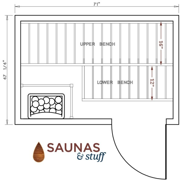 Harvia 4 x 6 Essential Sauna Floorplan