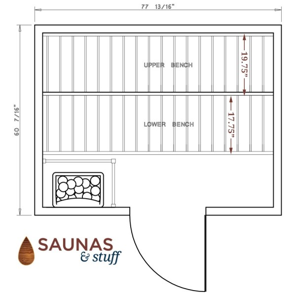 Harvia 5 x 7 Essential Sauna Floorplan
