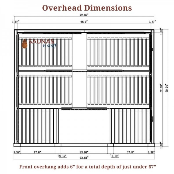 Overhead Dimensions - 6 Person Sauna