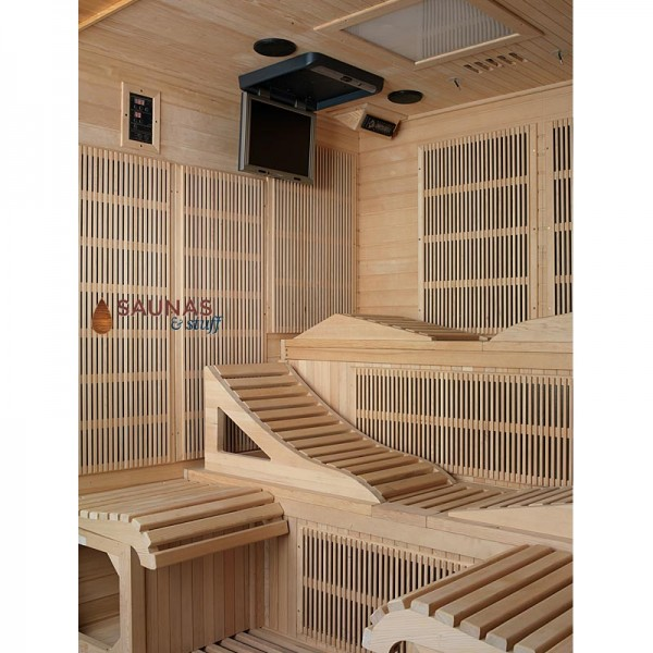 Infrared Sauna with Drop-Down TV and Color Therapy Lighting