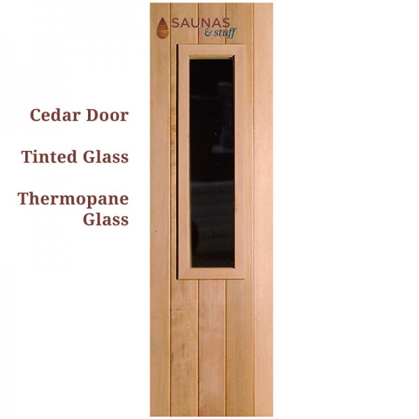 "2' x 6'8"" Cedar Sauna Door with Small Tinted Glass window"