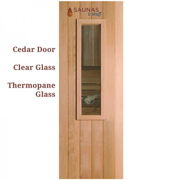 "3' x 6'8"" ADA Width Cedar Sauna Room Door with small window"