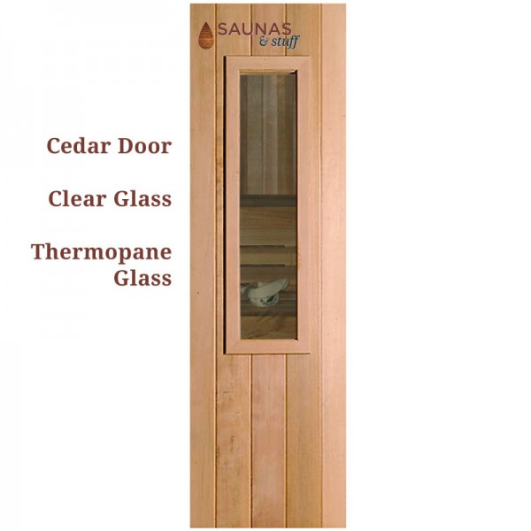 "2' x 6'8"" Cedar Sauna Door with Small clear glass window"