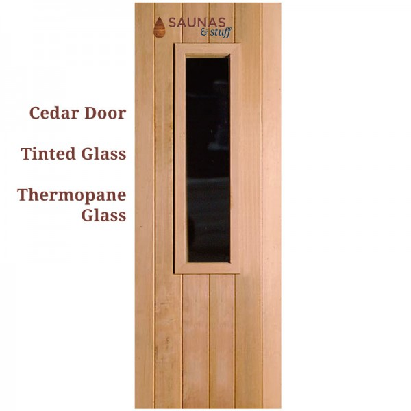 "3' x 6'8"" ADA Width Cedar Sauna Room Door with small Tinted window"