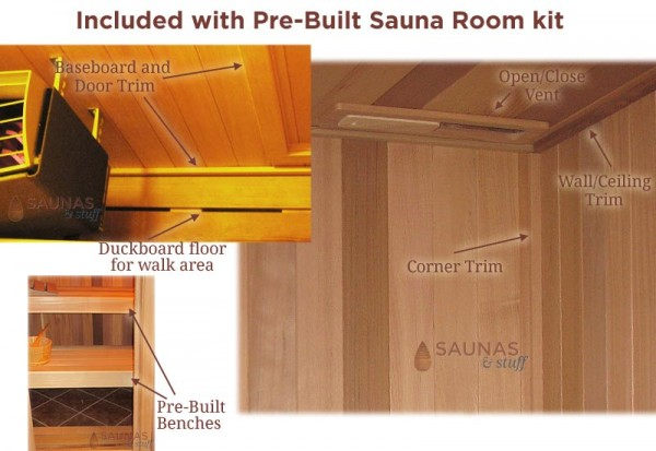 More Pre-Built Sauna Standard Features
