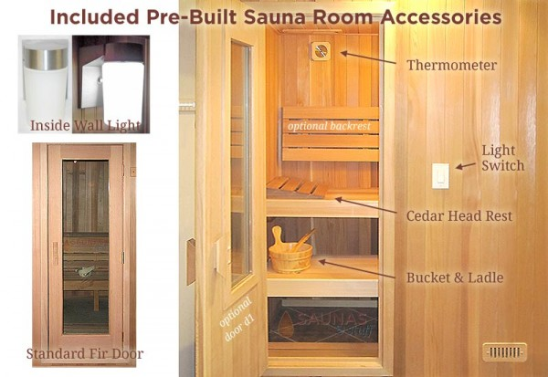 Pre-Built Sauna Standard Features