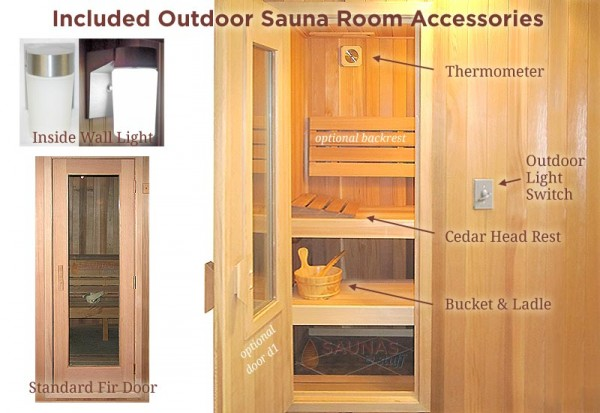 Outdoor Sauna Standard Features
