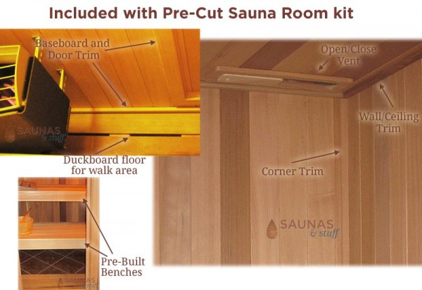 More Pre-Cut Sauna Standard Features