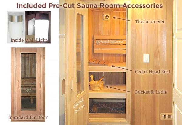 Pre-Cut Sauna Standard Features