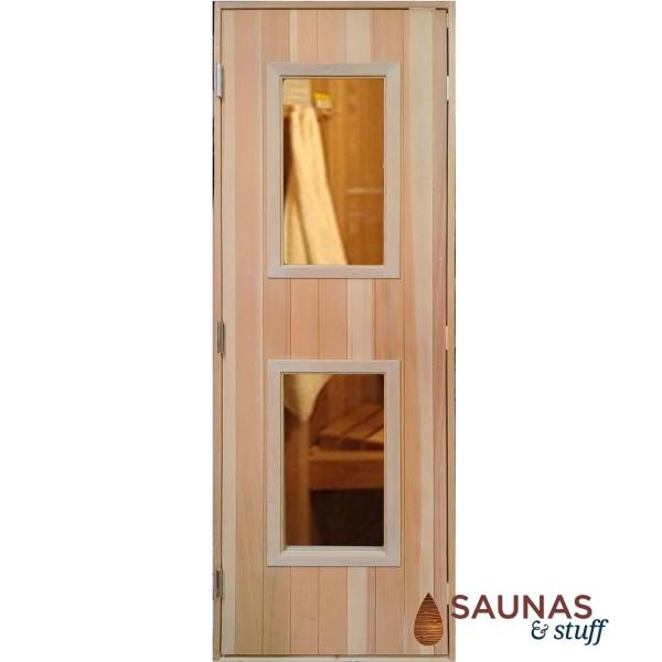 """2' x 6'8"""" Cedar Sauna Door with 2 windows"""