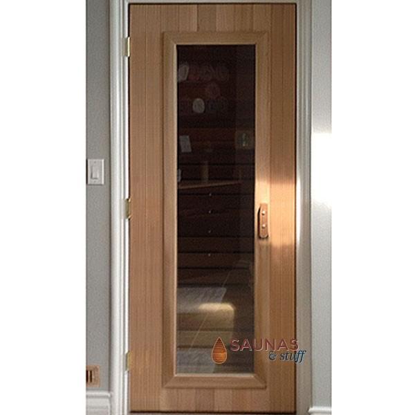 """3' x 6'8"""" ADA Width Cedar Sauna Room Door - Clear Glass"""