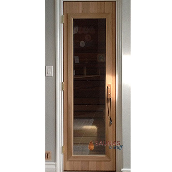 "2' x 6'8"" Western Red Cedar Sauna Room Door - Clear Glass"