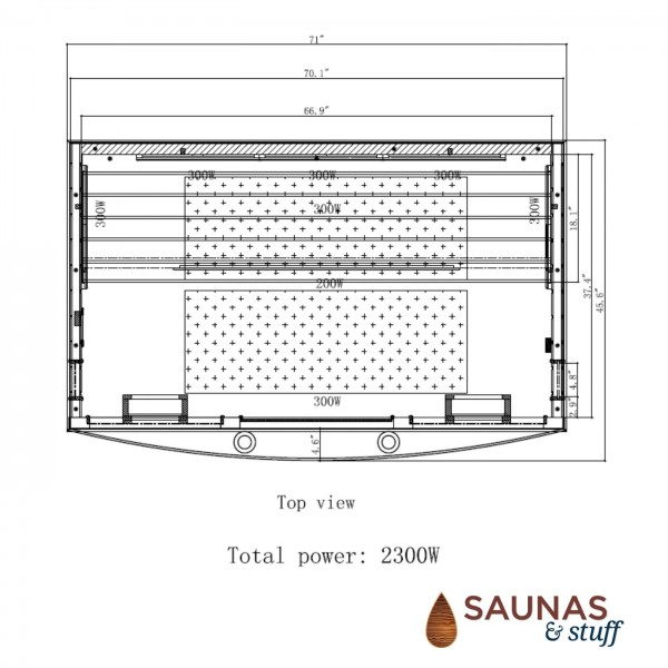 4 Person Ultra-Low-EMF Infrared Sauna - Dimensions