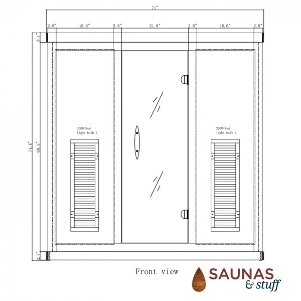 4 Person Ultra-Low-EMF Infrared Sauna - Dimensions